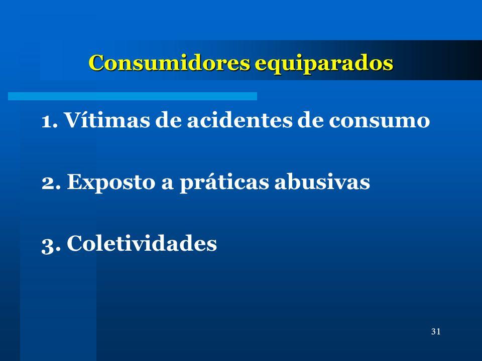 31 Consumidores equiparados 1. Vítimas de acidentes de consumo 2. Exposto a práticas abusivas 3. Coletividades