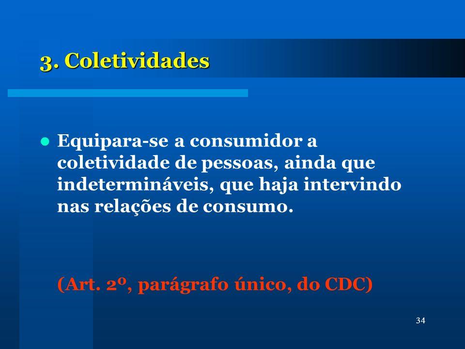 34 3. Coletividades Equipara-se a consumidor a coletividade de pessoas, ainda que indetermináveis, que haja intervindo nas relações de consumo. (Art.