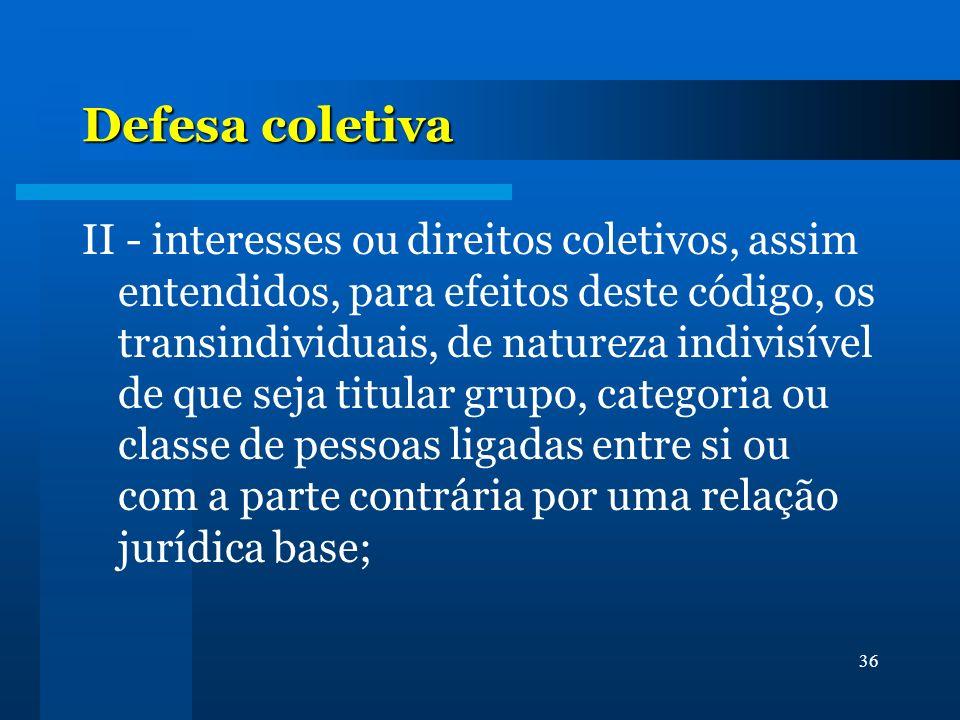 36 Defesa coletiva II - interesses ou direitos coletivos, assim entendidos, para efeitos deste código, os transindividuais, de natureza indivisível de