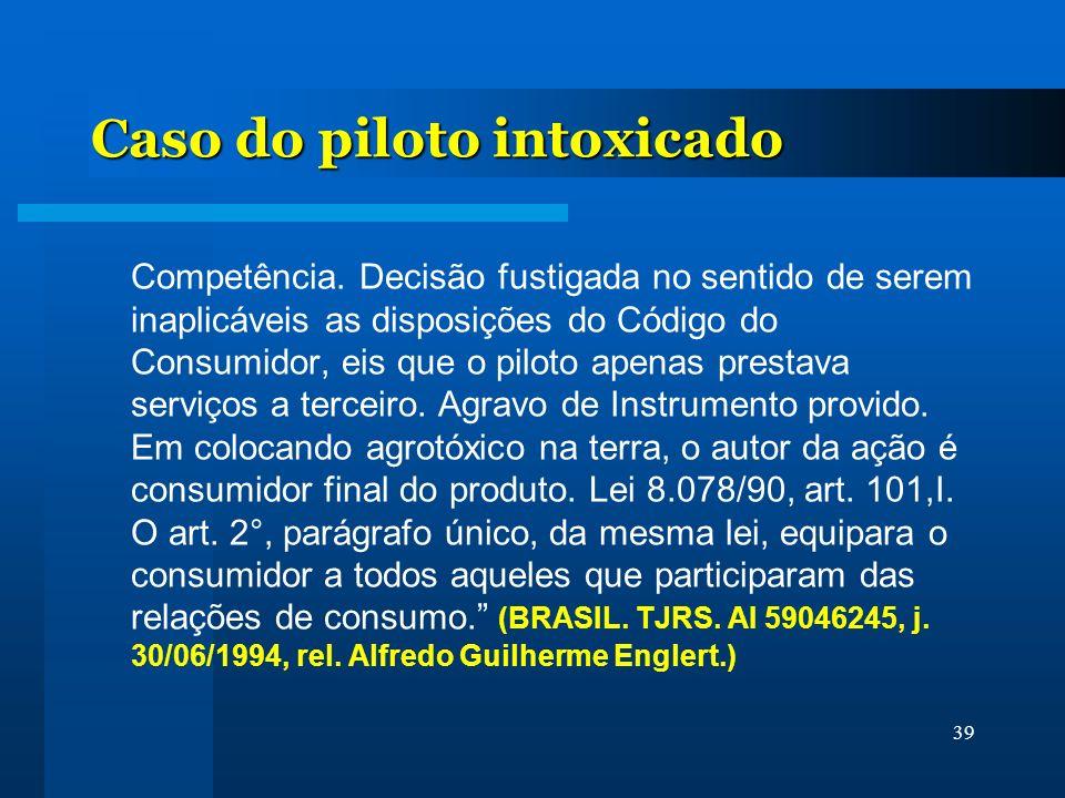 39 Caso do piloto intoxicado Competência. Decisão fustigada no sentido de serem inaplicáveis as disposições do Código do Consumidor, eis que o piloto