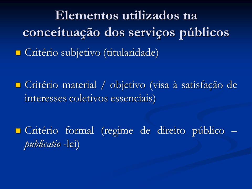 Elementos utilizados na conceituação dos serviços públicos Critério subjetivo (titularidade) Critério subjetivo (titularidade) Critério material / obj