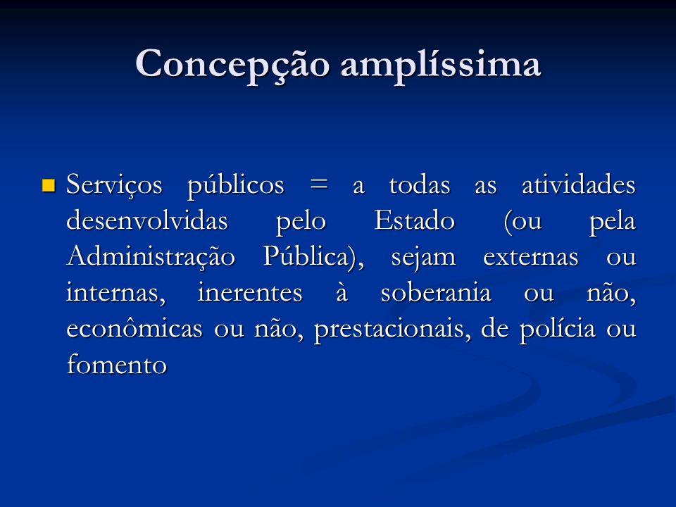 Concepção amplíssima Serviços públicos = a todas as atividades desenvolvidas pelo Estado (ou pela Administração Pública), sejam externas ou internas,