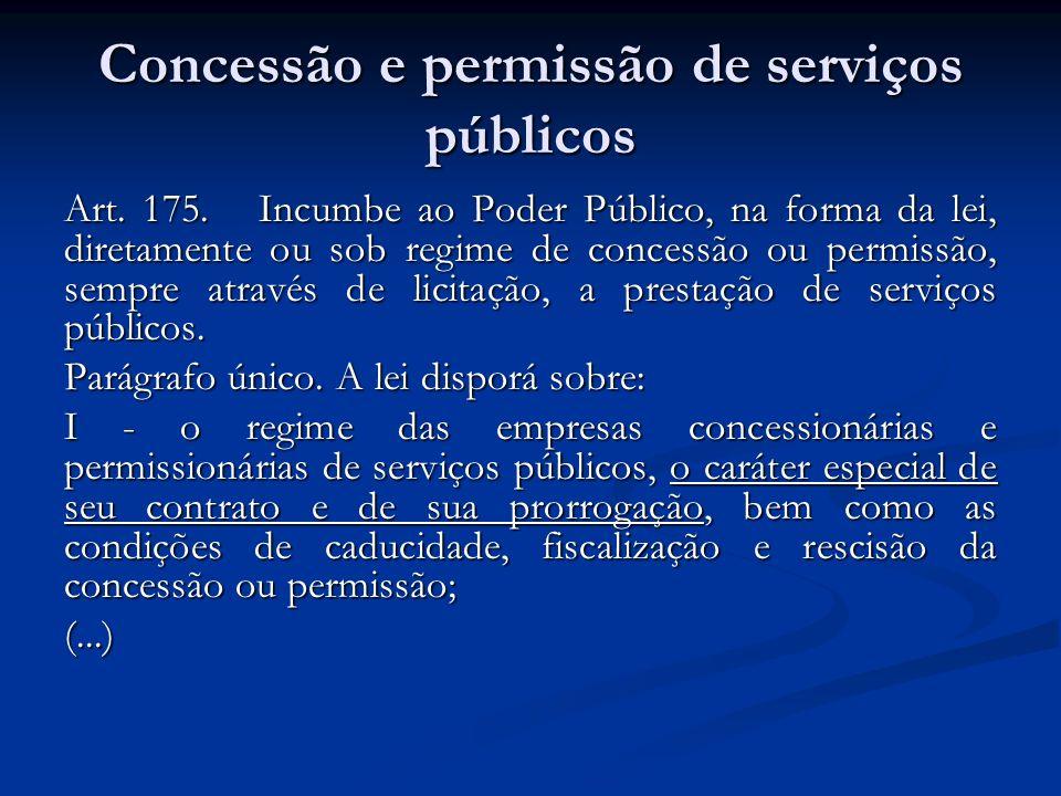 Concessão e permissão de serviços públicos Art. 175. Incumbe ao Poder Público, na forma da lei, diretamente ou sob regime de concessão ou permissão, s