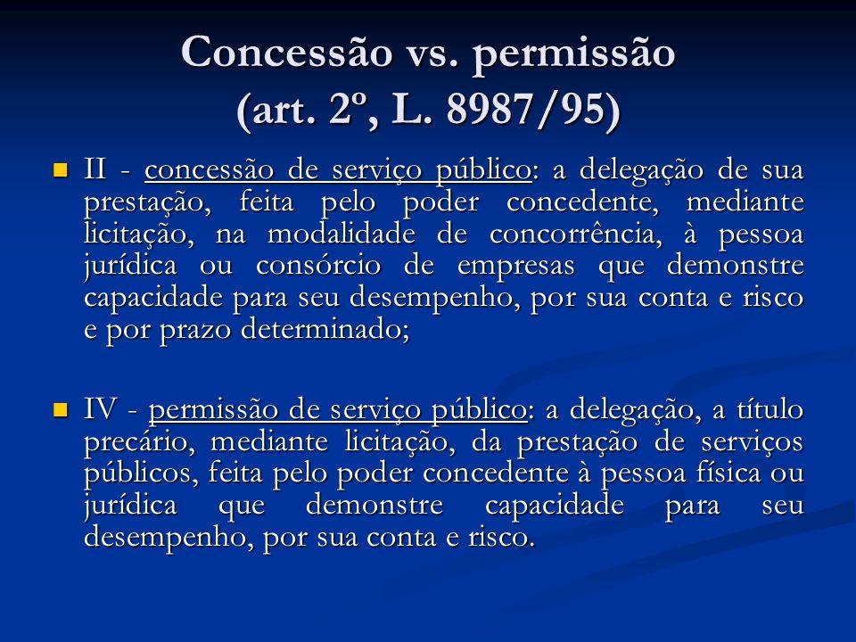 Concessão vs. permissão (art. 2º, L. 8987/95) II - concessão de serviço público: a delegação de sua prestação, feita pelo poder concedente, mediante l