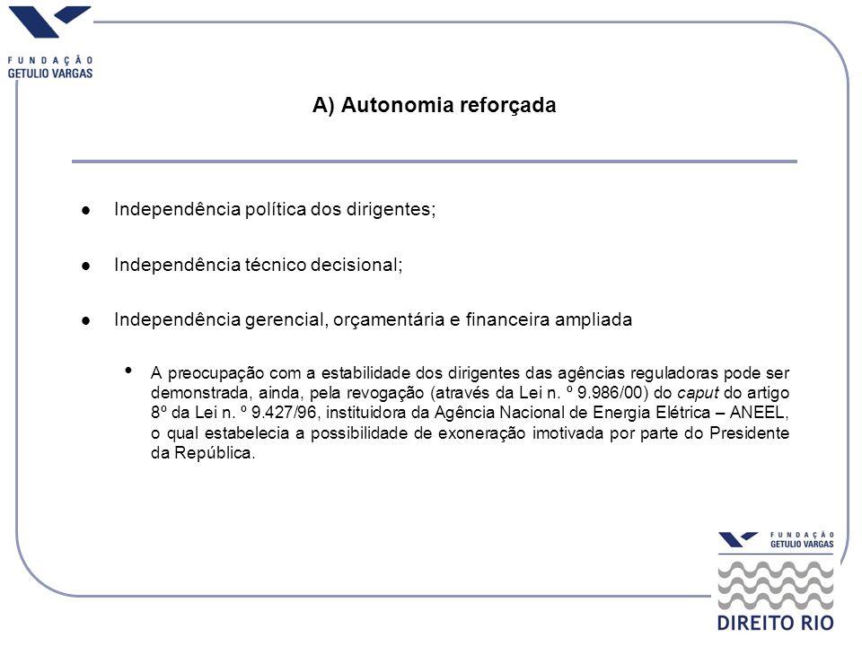 A) Autonomia reforçada Independência política dos dirigentes; Independência técnico decisional; Independência gerencial, orçamentária e financeira amp