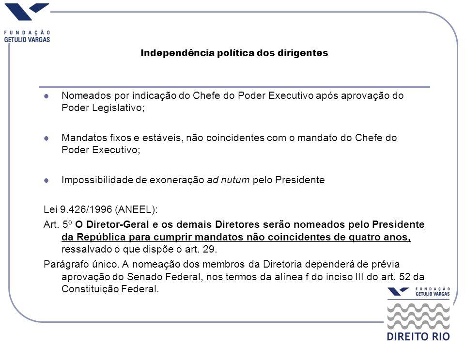 Independência política dos dirigentes Nomeados por indicação do Chefe do Poder Executivo após aprovação do Poder Legislativo; Mandatos fixos e estávei