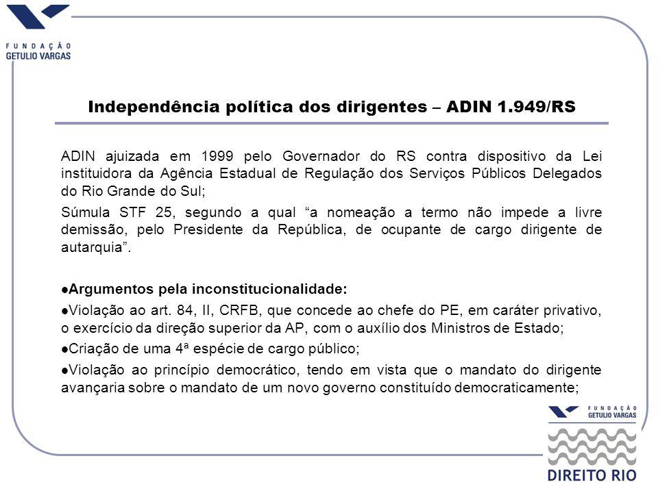 Independência política dos dirigentes – ADIN 1.949/RS ADIN ajuizada em 1999 pelo Governador do RS contra dispositivo da Lei instituidora da Agência Es