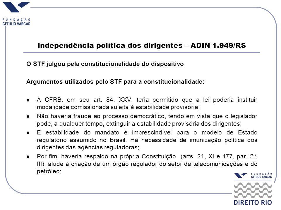 O STF julgou pela constitucionalidade do dispositivo Argumentos utilizados pelo STF para a constitucionalidade: A CFRB, em seu art. 84, XXV, teria per