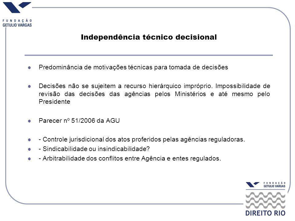 Independência técnico decisional Predominância de motivações técnicas para tomada de decisões Decisões não se sujeitem a recurso hierárquico impróprio