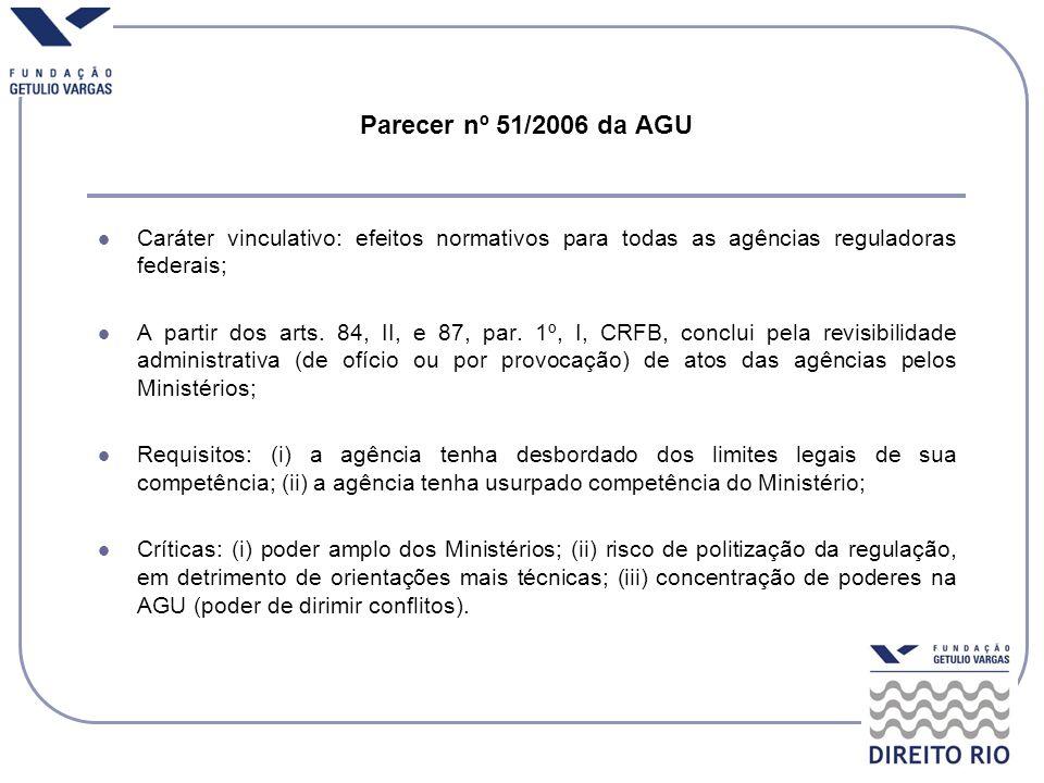 Parecer nº 51/2006 da AGU Caráter vinculativo: efeitos normativos para todas as agências reguladoras federais; A partir dos arts. 84, II, e 87, par. 1