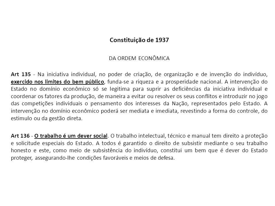 Constituição de 1937 DA ORDEM ECONÔMICA Art 135 - Na iniciativa individual, no poder de criação, de organização e de invenção do indivíduo, exercido n