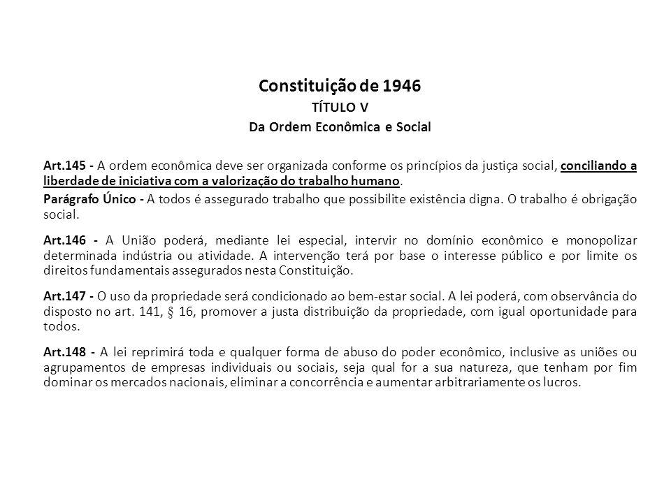 Constituição de 1946 TÍTULO V Da Ordem Econômica e Social Art.145 - A ordem econômica deve ser organizada conforme os princípios da justiça social, co