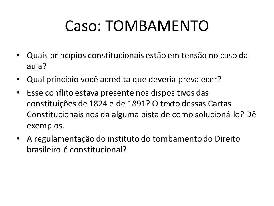 Caso: TOMBAMENTO Quais princípios constitucionais estão em tensão no caso da aula? Qual princípio você acredita que deveria prevalecer? Esse conflito