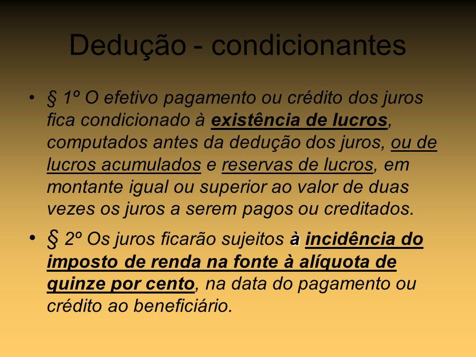 Dedução - condicionantes § 1º O efetivo pagamento ou crédito dos juros fica condicionado à existência de lucros, computados antes da dedução dos juros