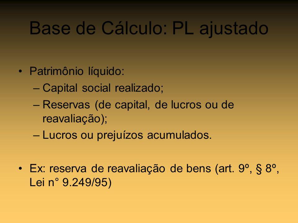 Base de Cálculo: PL ajustado Patrimônio líquido: –Capital social realizado; –Reservas (de capital, de lucros ou de reavaliação); –Lucros ou prejuízos