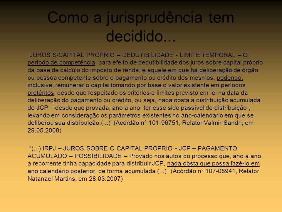 Como a jurisprudência tem decidido... JUROS S/CAPITAL PRÓPRIO – DEDUTIBILIDADE - LIMITE TEMPORAL – O período de competência, para efeito de dedutibili