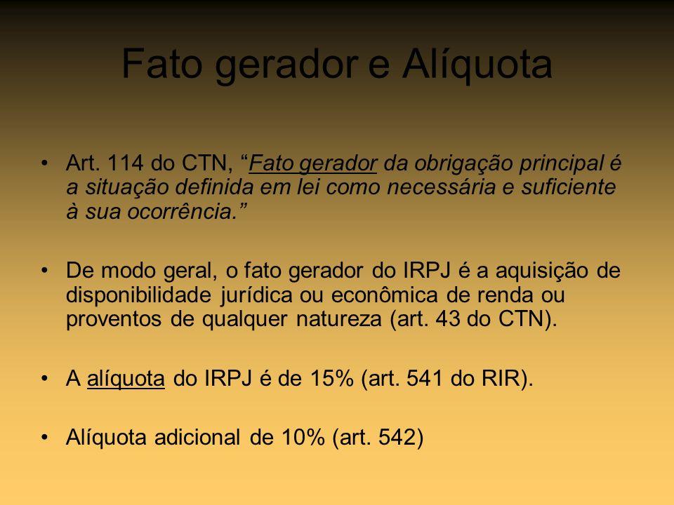 Fato gerador e Alíquota Art. 114 do CTN, Fato gerador da obrigação principal é a situação definida em lei como necessária e suficiente à sua ocorrênci