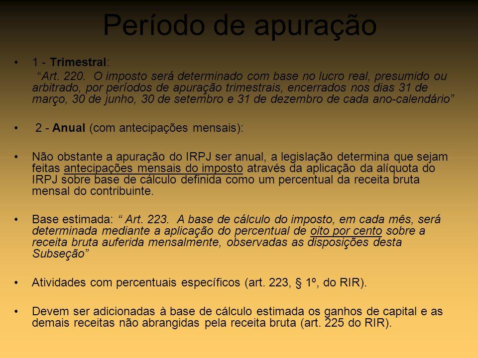 Período de apuração 1 - Trimestral: Art. 220. O imposto será determinado com base no lucro real, presumido ou arbitrado, por períodos de apuração trim