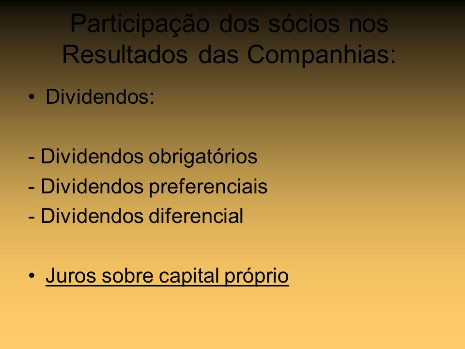 Participação dos sócios nos Resultados das Companhias: Dividendos: - Dividendos obrigatórios - Dividendos preferenciais - Dividendos diferencial Juros