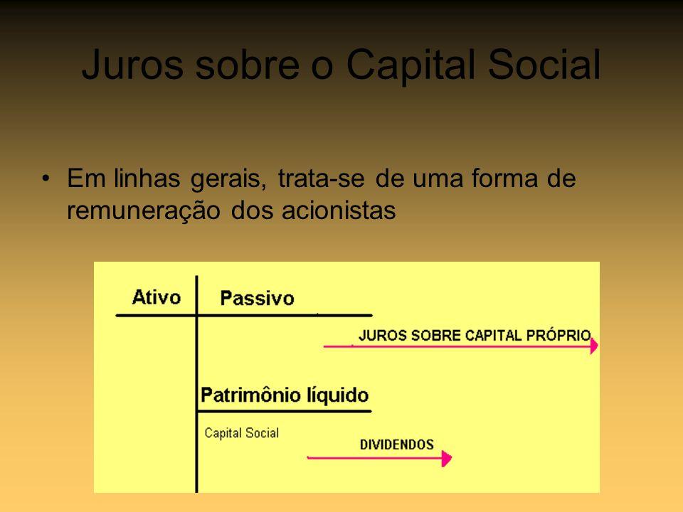 Juros sobre o Capital Social Em linhas gerais, trata-se de uma forma de remuneração dos acionistas