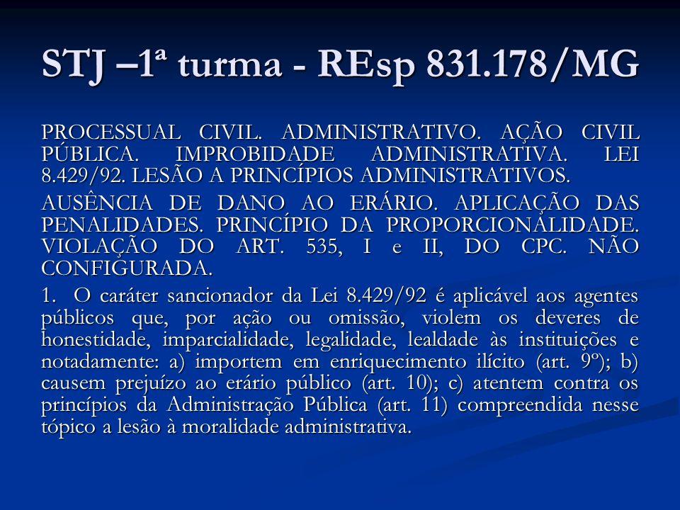 STJ –1ª turma - REsp 831.178/MG PROCESSUAL CIVIL. ADMINISTRATIVO. AÇÃO CIVIL PÚBLICA. IMPROBIDADE ADMINISTRATIVA. LEI 8.429/92. LESÃO A PRINCÍPIOS ADM