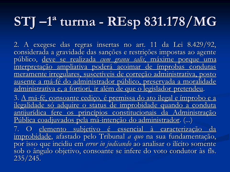 STJ –1ª turma - REsp 831.178/MG 2. A exegese das regras insertas no art. 11 da Lei 8.429/92, considerada a gravidade das sanções e restrições impostas