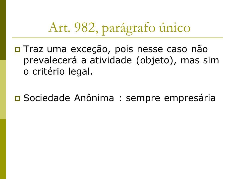 Art. 982, parágrafo único Traz uma exceção, pois nesse caso não prevalecerá a atividade (objeto), mas sim o critério legal. Sociedade Anônima : sempre