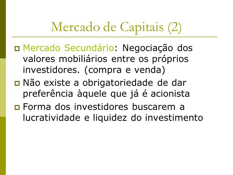 Mercado de Capitais (2) Mercado Secundário: Negociação dos valores mobiliários entre os próprios investidores. (compra e venda) Não existe a obrigator
