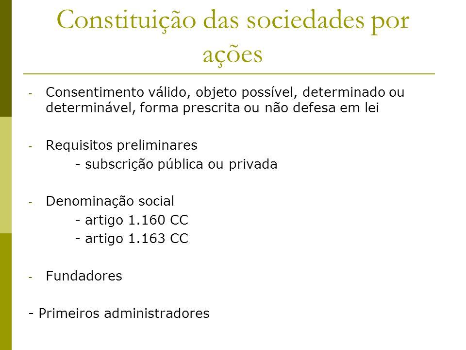 Constituição das sociedades por ações - Consentimento válido, objeto possível, determinado ou determinável, forma prescrita ou não defesa em lei - Req