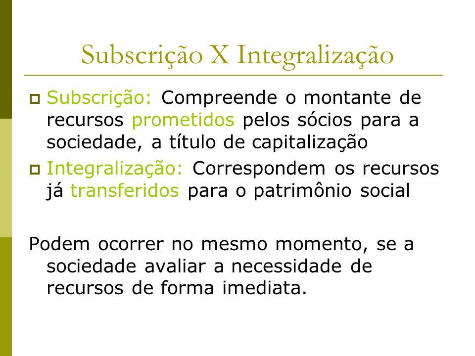 Subscrição X Integralização Subscrição: Compreende o montante de recursos prometidos pelos sócios para a sociedade, a título de capitalização Integral
