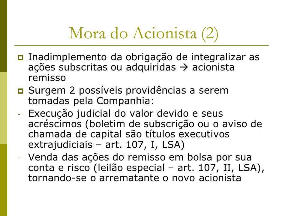 Mora do Acionista (2) Inadimplemento da obrigação de integralizar as ações subscritas ou adquiridas acionista remisso Surgem 2 possíveis providências