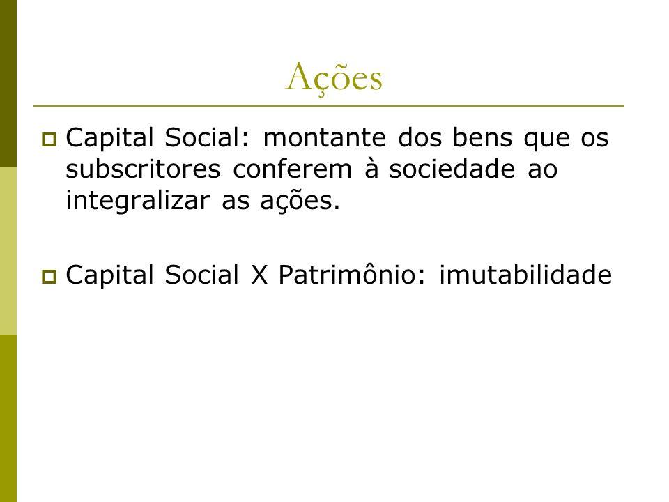 Ações Capital Social: montante dos bens que os subscritores conferem à sociedade ao integralizar as ações. Capital Social X Patrimônio: imutabilidade