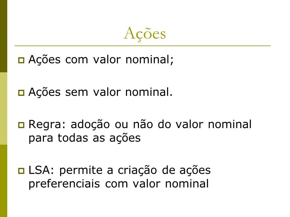 Ações Ações com valor nominal; Ações sem valor nominal. Regra: adoção ou não do valor nominal para todas as ações LSA: permite a criação de ações pref