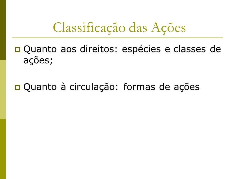 Classificação das Ações Quanto aos direitos: espécies e classes de ações; Quanto à circulação: formas de ações