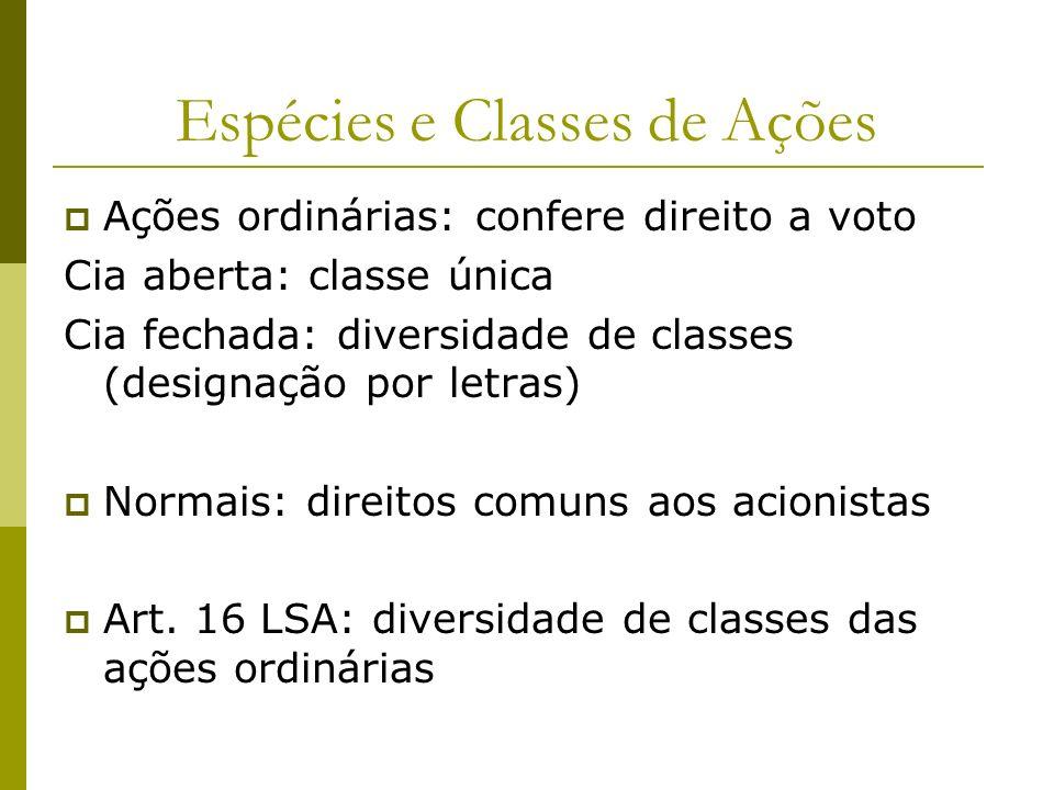 Espécies e Classes de Ações Ações ordinárias: confere direito a voto Cia aberta: classe única Cia fechada: diversidade de classes (designação por letr