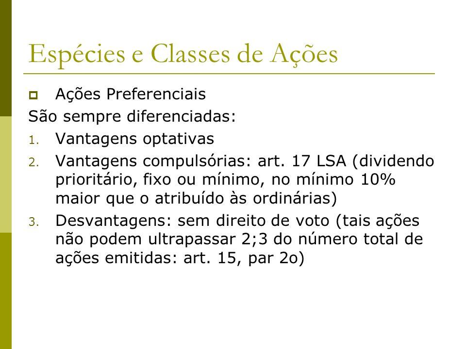 Espécies e Classes de Ações Ações Preferenciais São sempre diferenciadas: 1. Vantagens optativas 2. Vantagens compulsórias: art. 17 LSA (dividendo pri