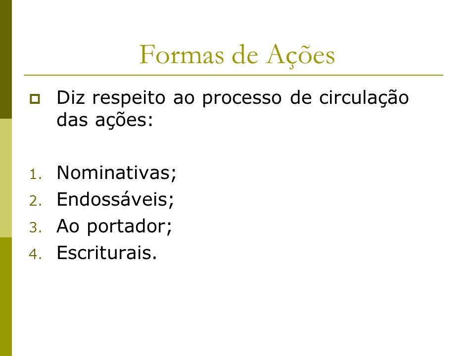 Formas de Ações Diz respeito ao processo de circulação das ações: 1. Nominativas; 2. Endossáveis; 3. Ao portador; 4. Escriturais.