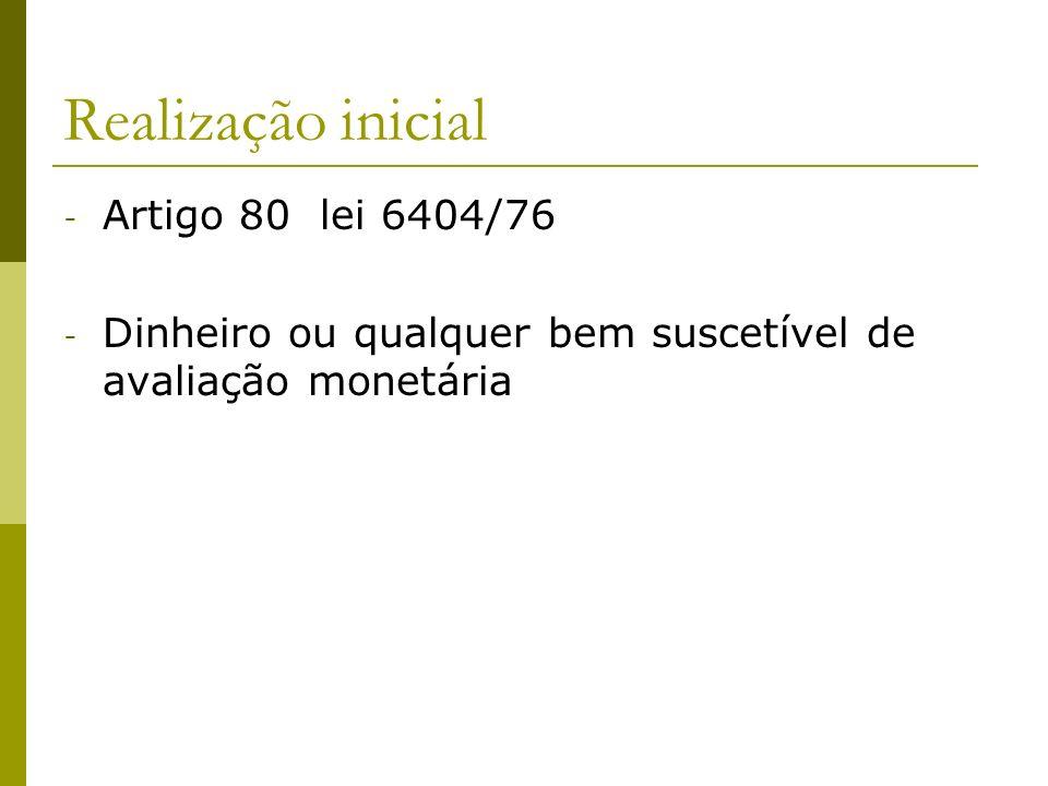 Realização inicial - Artigo 80 lei 6404/76 - Dinheiro ou qualquer bem suscetível de avaliação monetária