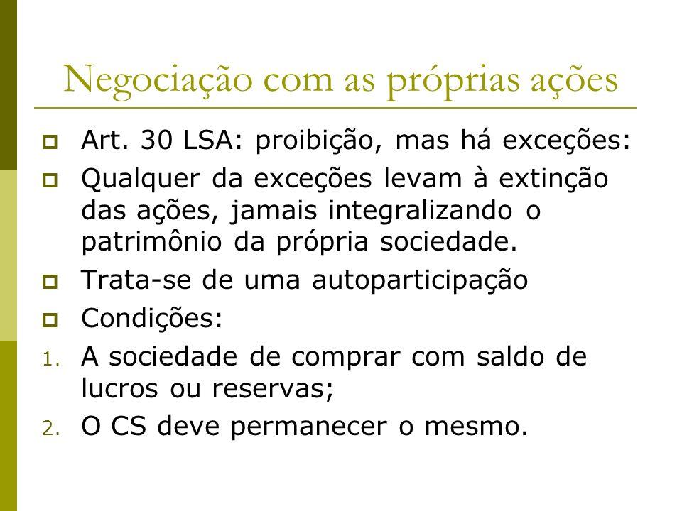 Negociação com as próprias ações Art. 30 LSA: proibição, mas há exceções: Qualquer da exceções levam à extinção das ações, jamais integralizando o pat