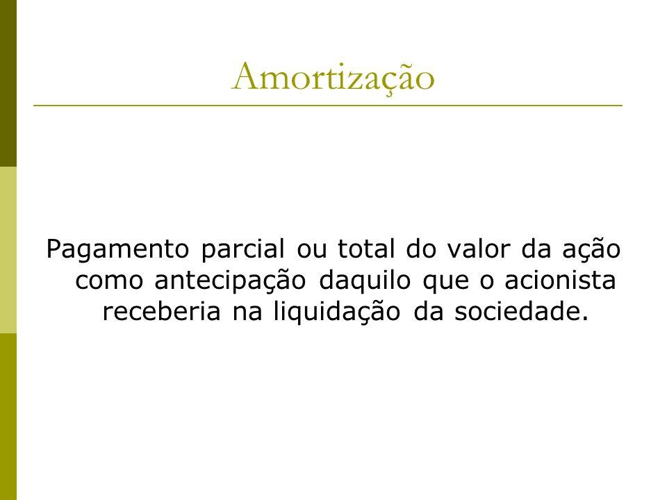 Amortização Pagamento parcial ou total do valor da ação como antecipação daquilo que o acionista receberia na liquidação da sociedade.