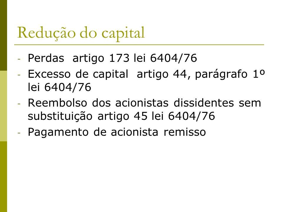 Redução do capital - Perdas artigo 173 lei 6404/76 - Excesso de capital artigo 44, parágrafo 1º lei 6404/76 - Reembolso dos acionistas dissidentes sem