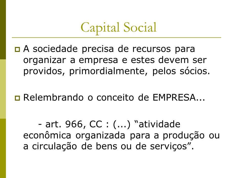 Capital Social A sociedade precisa de recursos para organizar a empresa e estes devem ser providos, primordialmente, pelos sócios. Relembrando o conce