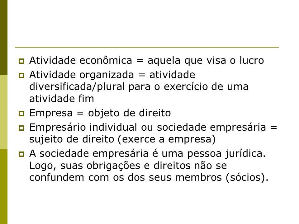 Atividade econômica = aquela que visa o lucro Atividade organizada = atividade diversificada/plural para o exercício de uma atividade fim Empresa = ob