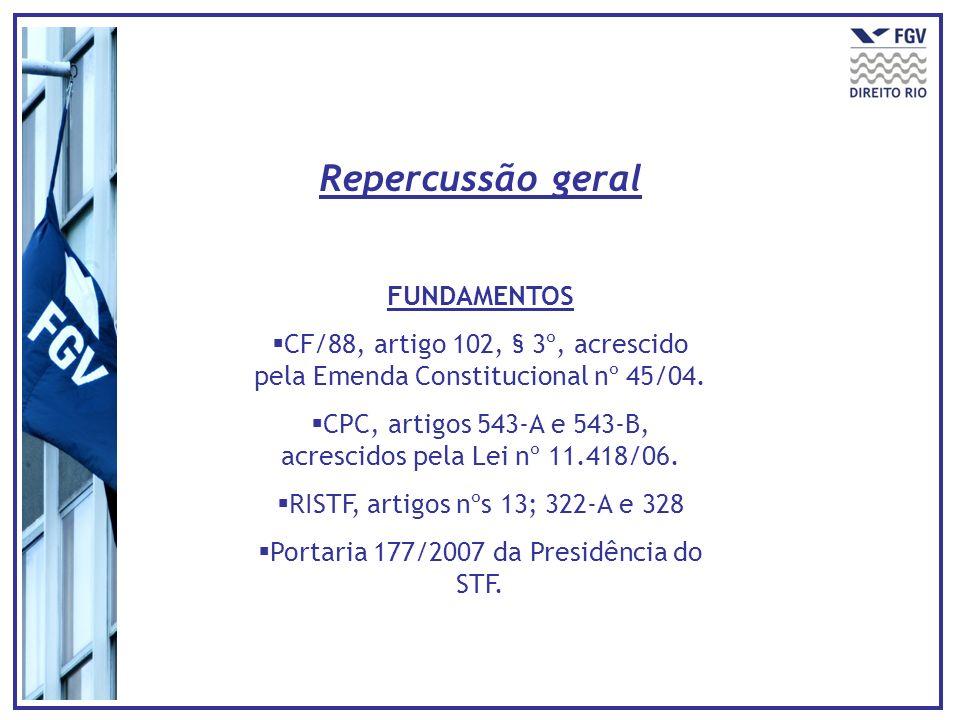 FUNDAMENTOS CF/88, artigo 102, § 3º, acrescido pela Emenda Constitucional nº 45/04.