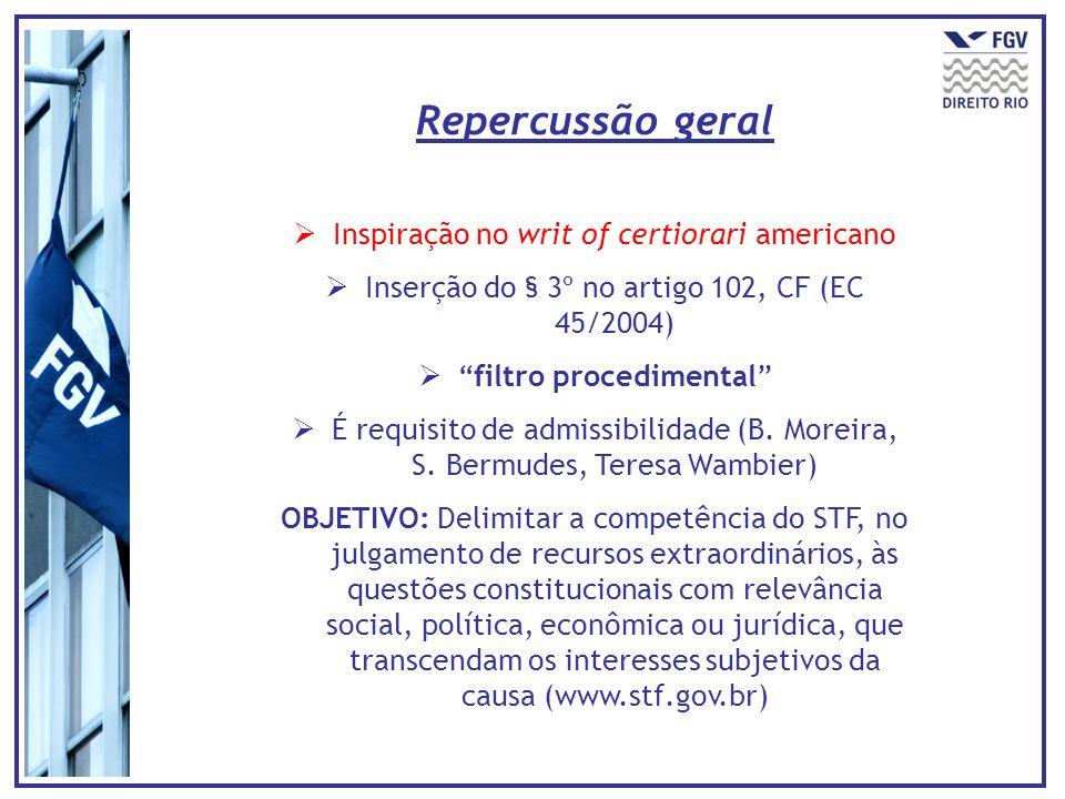 Inspiração no writ of certiorari americano Inserção do § 3º no artigo 102, CF (EC 45/2004) filtro procedimental É requisito de admissibilidade (B.