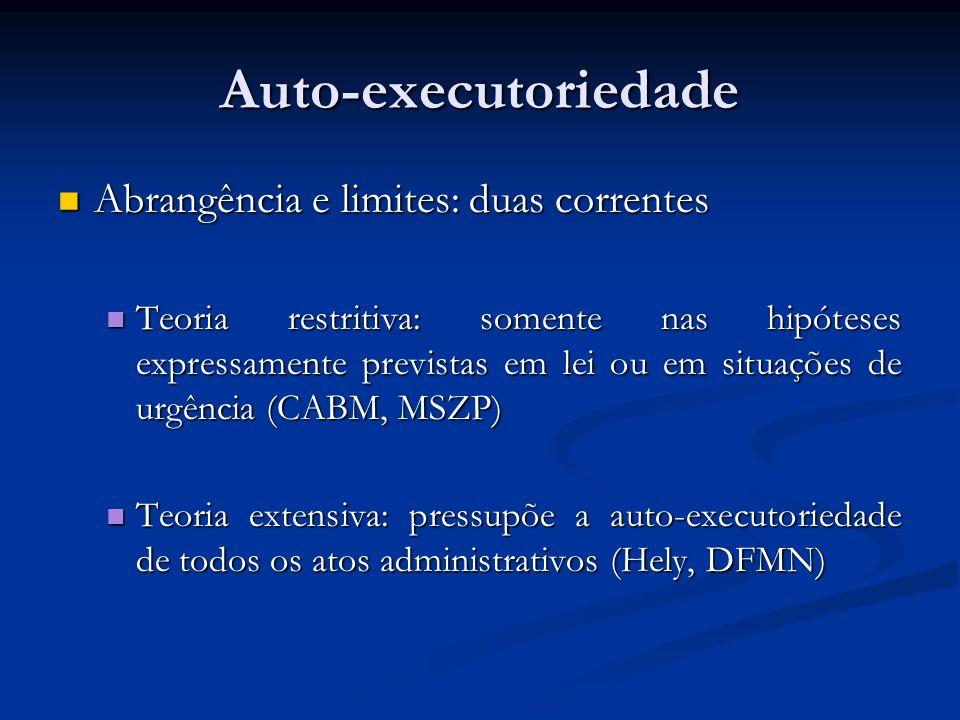 Auto-executoriedade Abrangência e limites: duas correntes Abrangência e limites: duas correntes Teoria restritiva: somente nas hipóteses expressamente