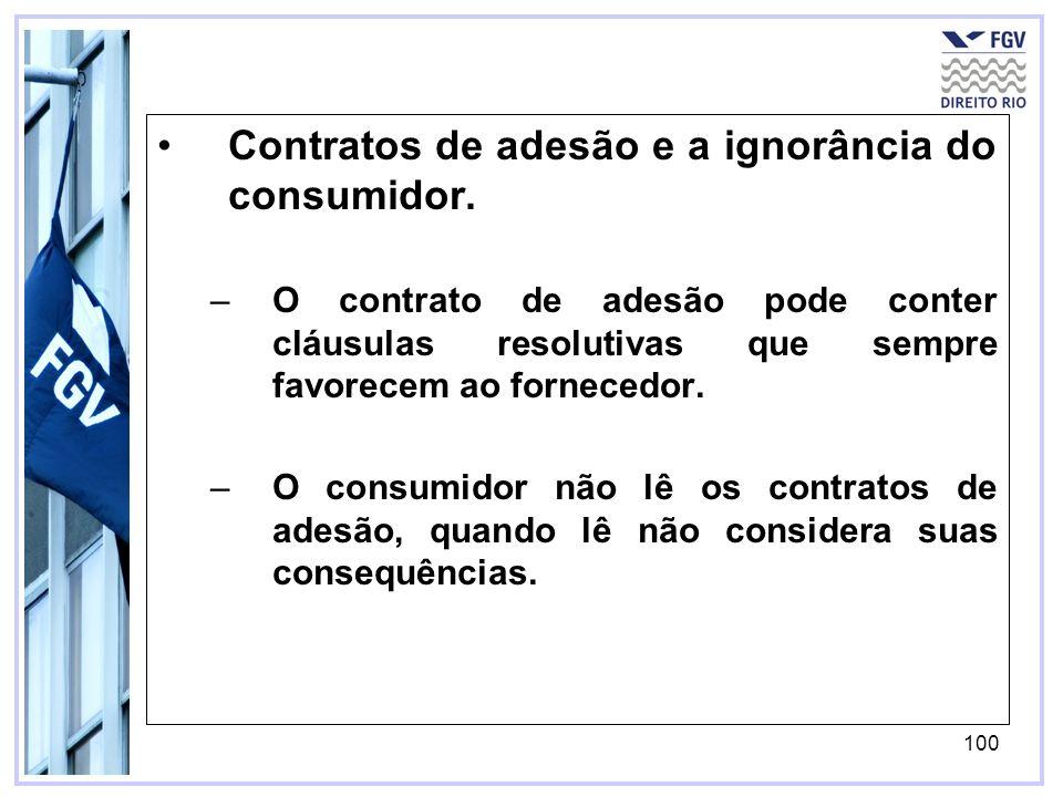 100 Contratos de adesão e a ignorância do consumidor.