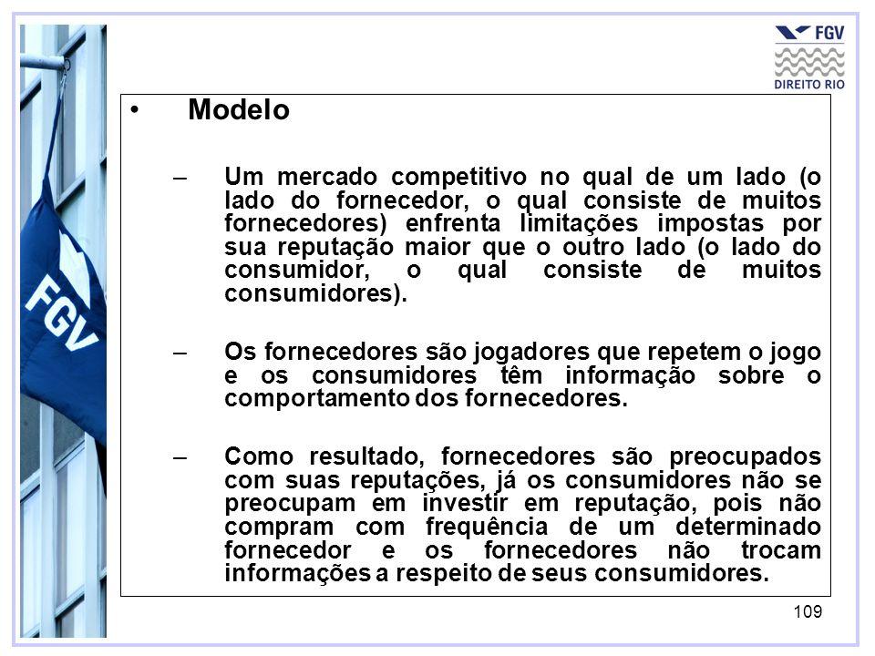 109 Modelo –Um mercado competitivo no qual de um lado (o lado do fornecedor, o qual consiste de muitos fornecedores) enfrenta limitações impostas por sua reputação maior que o outro lado (o lado do consumidor, o qual consiste de muitos consumidores).