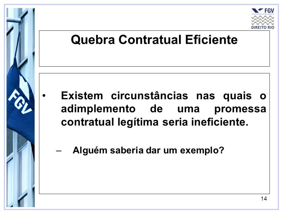 14 Quebra Contratual Eficiente Existem circunstâncias nas quais o adimplemento de uma promessa contratual legítima seria ineficiente.