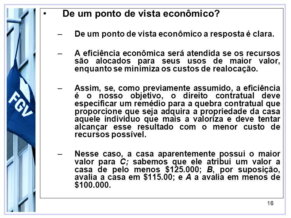 16 De um ponto de vista econômico. –De um ponto de vista econômico a resposta é clara.